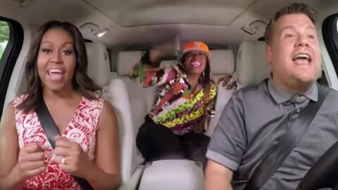 Michelle Obama, James Corden y Missy Elliott.