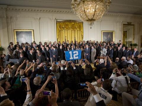Los campeones del Super Bowl visitaron la Casa Blanca y el Presidente Ba...