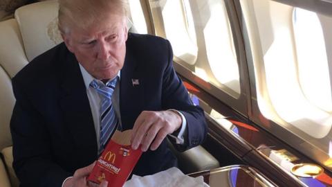 Trump celebró su victoria en las primarias con un menú de McDonald's