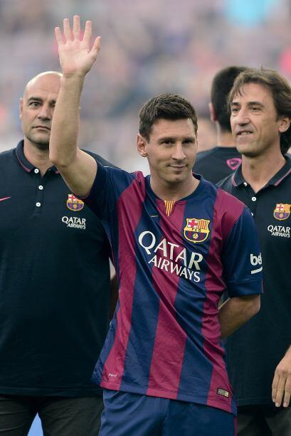 Lionel Messi apareció en el campo ya presentado como uno de los nuevos c...