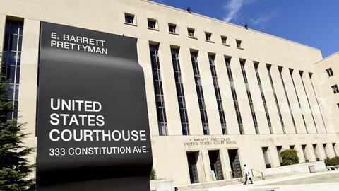Una fachada de la corte E. Barrett Prettyman en Washington, DC.