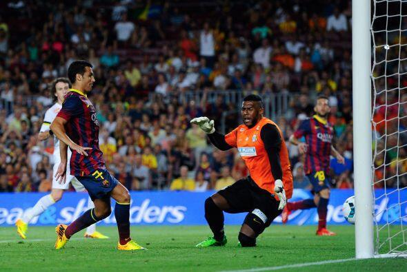 Pedro, estrenando el 7 que llevaba David Villa, también aportó su gol.