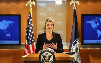 Heather Nauert, la portavoz del Departamento de Estado de Estados Unidos.