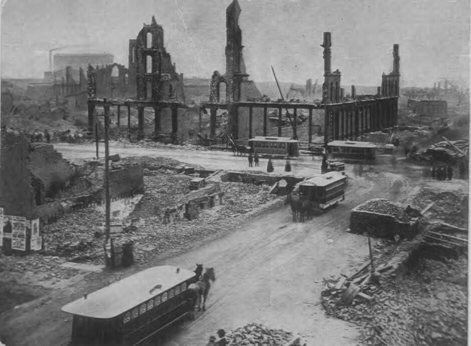 El gran incendio de Chicago, 1871: El fuego se propagó desde un g...