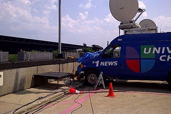 El camión de Univision Chicago para transmitir en vivo
