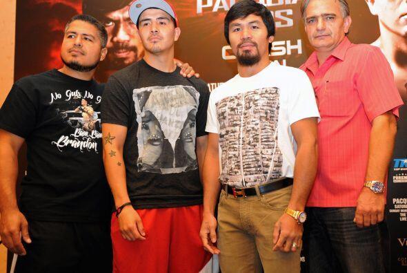Robert García, Brandon Ríos y Manny Pacquiao.