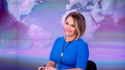 Maria Elena Salinas tras hacer su anuncio al final de Noticiero Univision.
