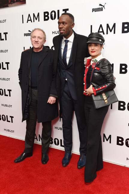 Salma Hayek Usain Bolt