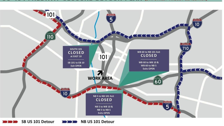 Mapa de los cortes a la circulación de la Autopista 101