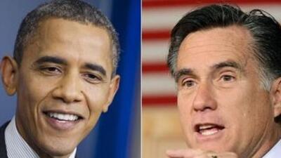 El Presidente Barack Obama y el ex gobernador de Massachusetts Mitt Romn...