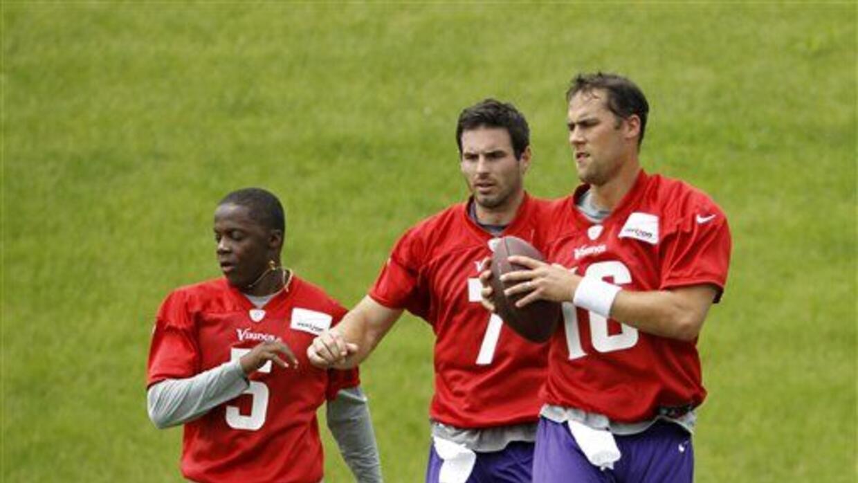 Teddy Bridgewater (5), Christian Ponder (7) y Matt Cassel (16) (AP-NFL).