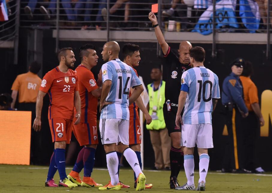 The refereeing was controversial. Chile's Marcelo Diaz is thrown out aft...
