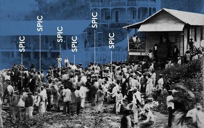 Imagen de la construcción del Canal de Panamá