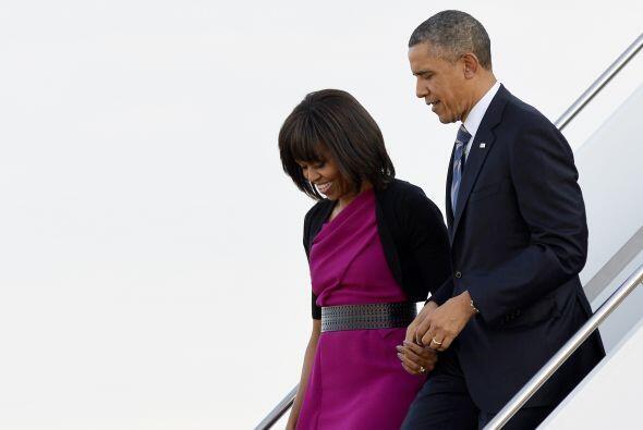 Barack Obama y la primera dama a su llegada a Texas.