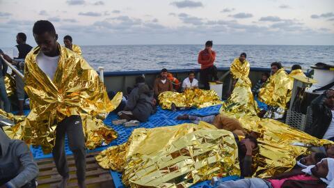 Migrantes rescatados en las costas de Libia