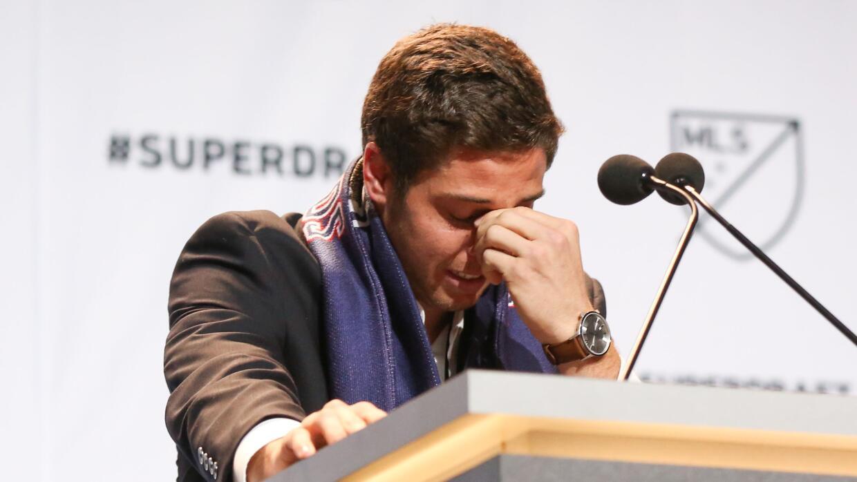 Matt Polster llora al ser seleccionado en el SuperDraft de la MLS
