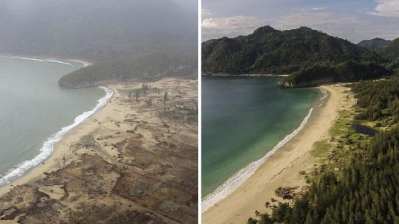 En esta imagen se observa una comparación de una vista aérea del Océano...