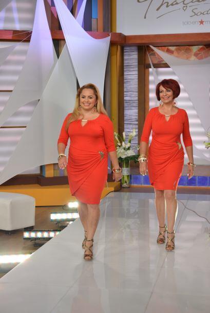 Un diseño en color rojo, que acentuaba las curvas de ambas. ¡Maravilloso!