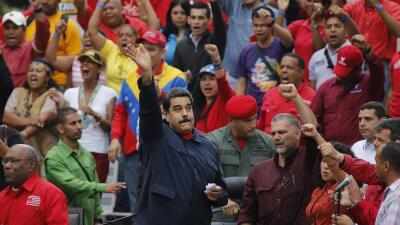 Nicolás Maduro junto a sus seguidores en Caracas
