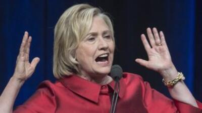 Hillary Clinton durante la cena en Virginia.