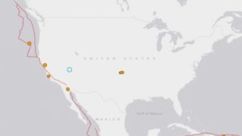 En esta imagen del USGS, el punto verde muestra la zona del movimiento d...