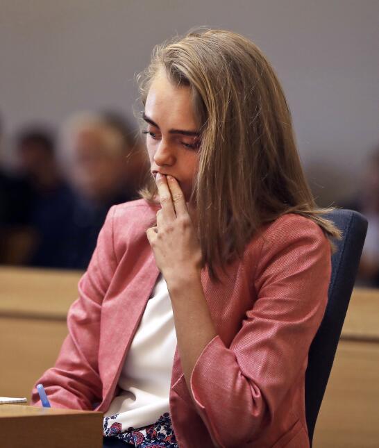 La acusada Michelle Carter en su juicio este martes mientra escuchaba lo...