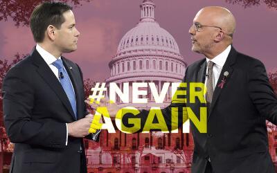 El senador republicano, Marco Rubio, y el congresista demócrata,...