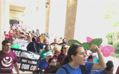 Organizaciones protestan contra la SB4 afuera del Tribunal Federal que d...
