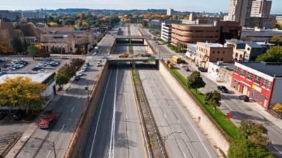El Inner Loop de Rochester antes de que fuera rellenado.