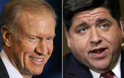 Bruce Rauner y J. B. Pritzker, candidatos a la gubernatura de Illinois,...