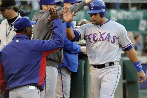 C.Yorvit Torrealba. Rangers de Texas.El receptor de los texanos bateó p...