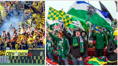 Aficionados de Columbus Crew SC y Portland Timbers