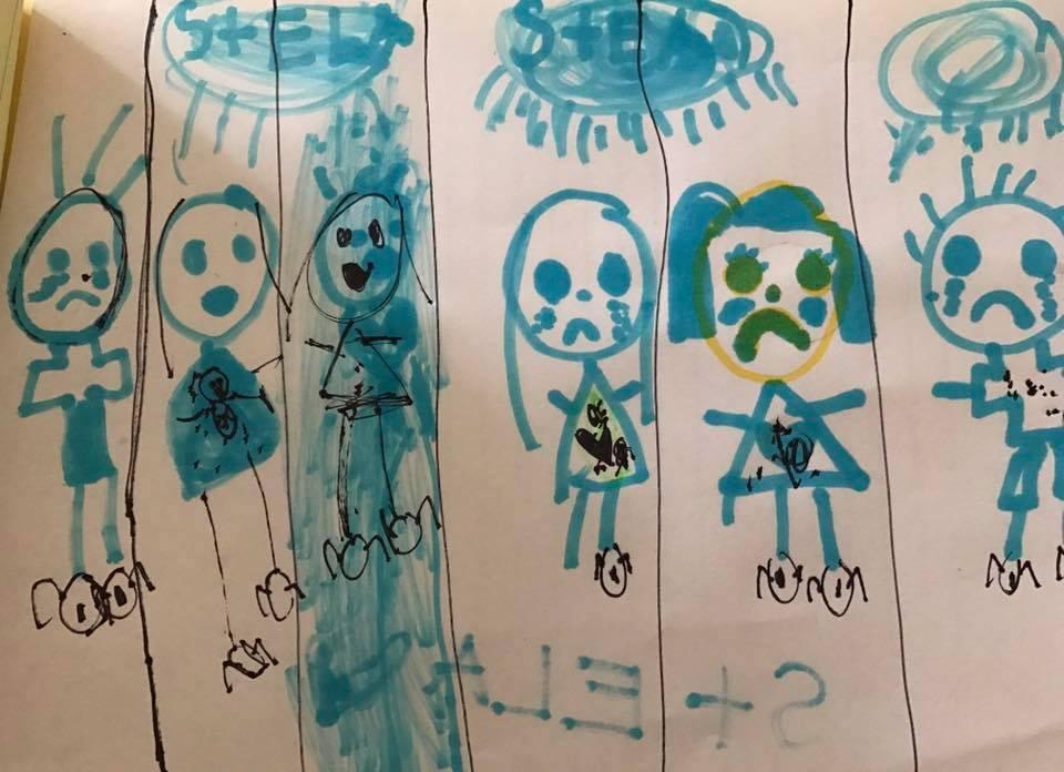 """""""Ningún niño debería estar en prisión"""", tituló este dibujo Ste..."""