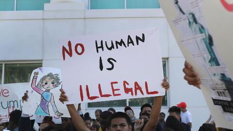 Imagen de una manifestación contra el presidente electo Donald Trump en...