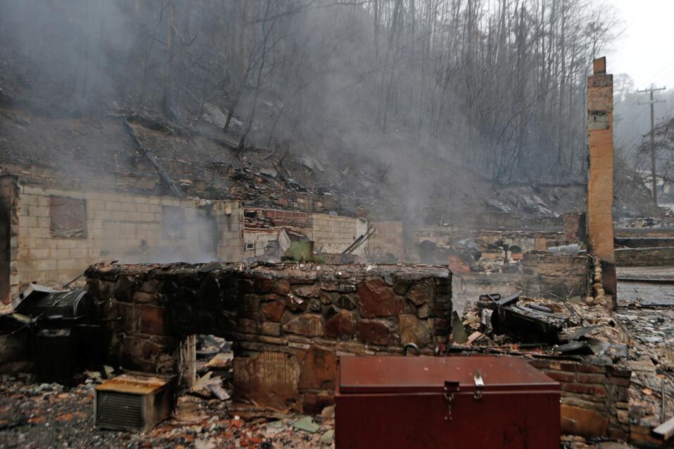 Los restos de una de las cientos de viviendas que resultaron afectadas p...