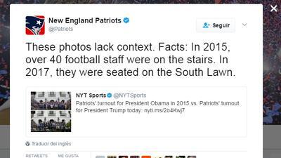 New England Patriots desmienten haber desairado foto oficial con Donald...