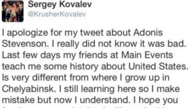 Las disculpas de Kovalev después del comentarió contra Stevenson.