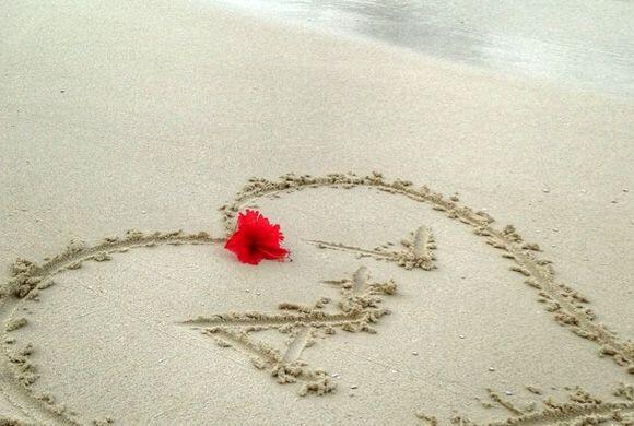 Ana y Luis dejaron sus inciales grabadas en la playa. (Junio 13, 2014)