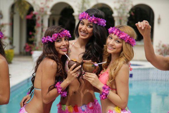 Las chicas disfrutaron de una sesión de fotos muy tropicales bajo el sol...