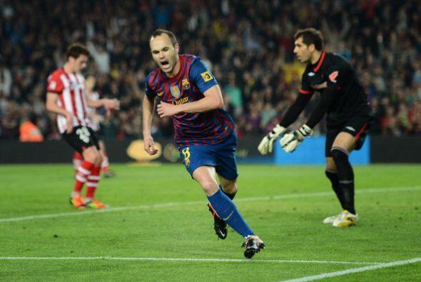 Iniesta y todo el equipo 'culé' festejó con todo el gol del triunfo.