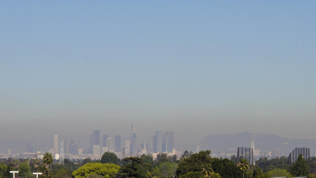 Smog over Los Angeles, 2011. The city's air quality has improved greatly...