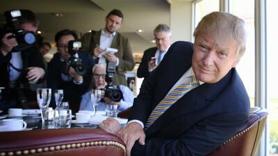 Donald Trump before the media June 8, 2015 in Turnberry, Scotland.