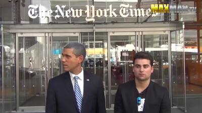 Fabrican broma con imitador de Obama en Times Square