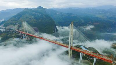 En fotos: China culmina la construcción del puente más alto del mundo