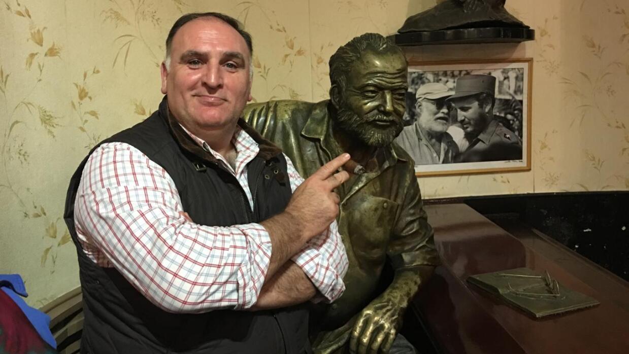 Chef José Andrés with bust of Ernest Hemingway in La Floridita restauran...