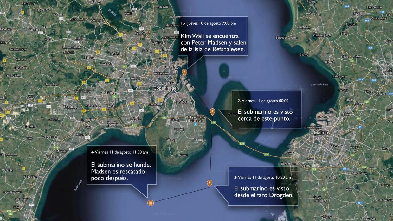 Los movimientos hechos por el submarino con Kim Wall y Peter Madsen dent...
