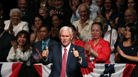 Mike Pence en el acto de Trump sobre el vínculo Cuba y Estados Unidos.