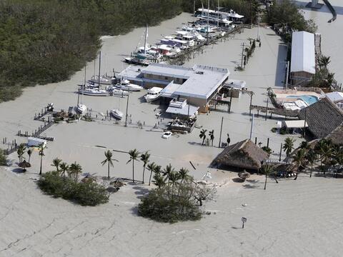 Una de las primeras imágenes de los Cayos de Florida tras el paso...