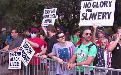Manifestantes piden remover monumentos confederados ubicados en espacios...