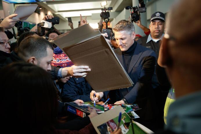 Bastian Schweinsteiger Airport Arrival - Chicago